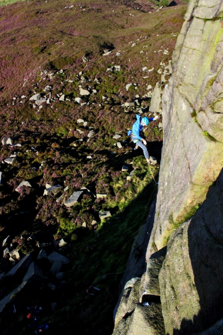 Taking flight off the infamous Cover me in chocolate and feed me to the Lesbians, Shining Clough © Mark Rankine