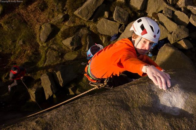Latching (?) the top on Balance It Is, Burbage South © Andy Reeve