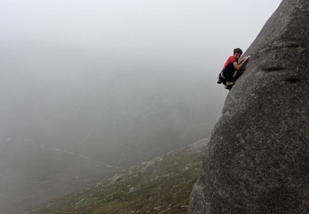 Nathan climbing Idlewild, E6 6b, Bearnagh © Oli Grounsell