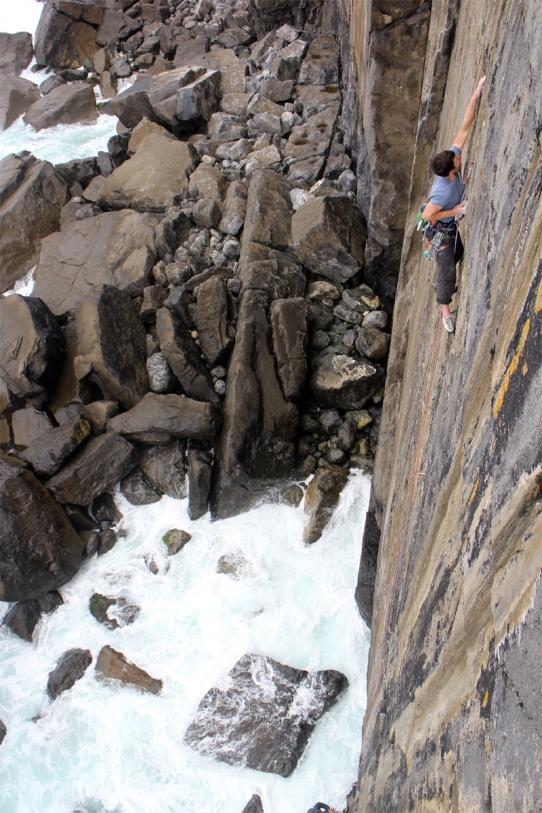 Liam on Refraction, E5 6b, The Burren © Oli Grounsell