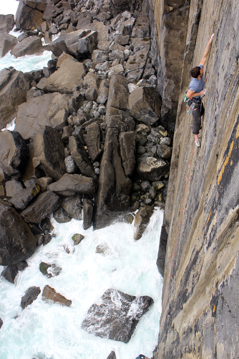 Liam on Refraction, E5 6b, The Burren © Oli Grounsell