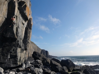 Liam on Stigmata, E6 6b, The Burren © Nathan Lee
