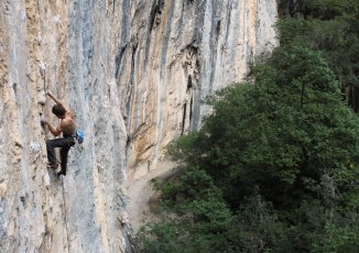 Climbing on Les Animas Wall, El Salto, Mexico © Liam Postlewaithe