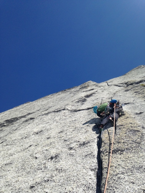 Looking up at the crux pitch of Fingerberry Jam (12a), Bugaboos