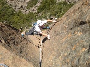 Jack Lawledge on Climbers Variant (24/ 7a+, Ben Lomond, Tasmania)