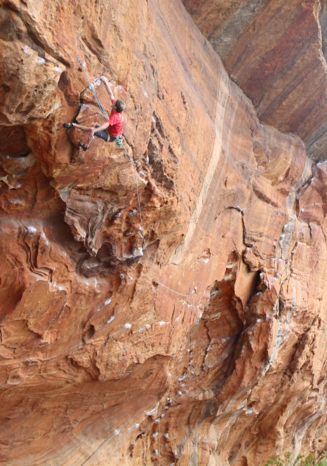 Nathan Lee climbing Central Latitudes (30/ 8a+, Muline, Grampians)