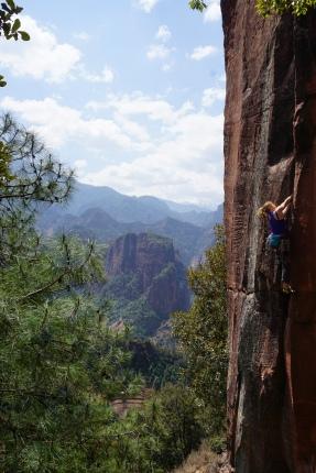 Gwen climbing The Gift