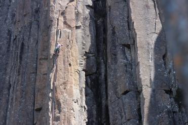 Heather jamming up Skyrocket (21, Organ Pipes, Tasmania)