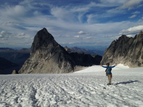 Liam returning across the Upper Vowel Glacier, Bugaboos, Canada