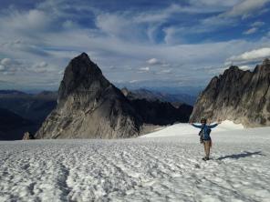 Liam returning across the Upper Vowel Glacier, Bugaboos, Canada