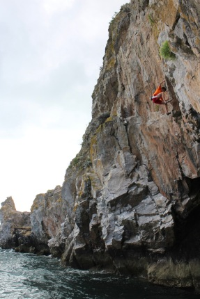 Bob finishing off Christine (8a) at Long Quarry Point, Dorset