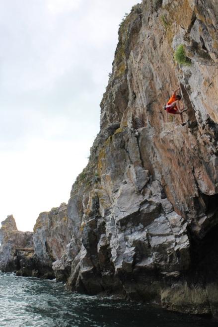 Bob finishing off Christine (8a) at Long Quarry Point, Dorset