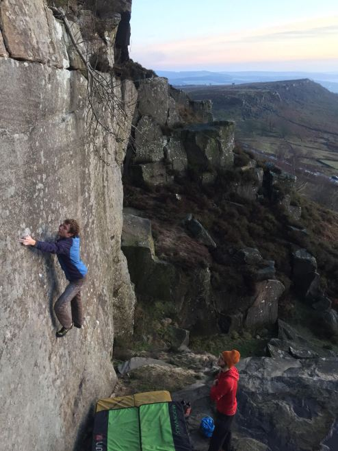 Nathan on Walk on By (7C), Curbar